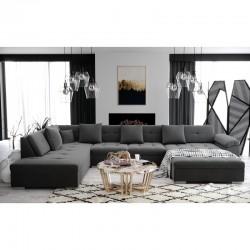 grand canapé d'angle panoramique ATIS gris 6 à 8 place