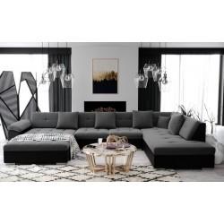 grand canapé d'angle panoramique ATIS gris avec simili noir 6-8 place