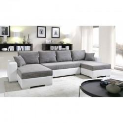 canapé panoramique lit gris blanc avec double méridienne tissu maillé gris chiné