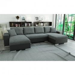 canapé panoramique convertible gris clair/gris foncé en tissu/simili 5 places liam