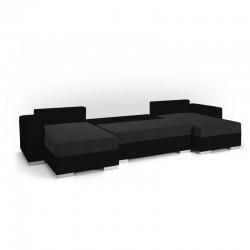 canapé d'angle panoramique en U convertible en lit fris/noir en tissu/simili 5 places liam