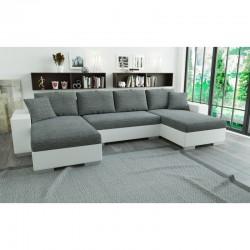 canapé panoramique en U convertible en lit blanc/gris clair en tissu/simili 5 places lian