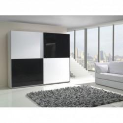 Armoire LUX miroir glossy damier noir et blanc