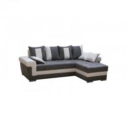 Canapé d'angle 5 places QUINY convertible gris et blanc angle gauche