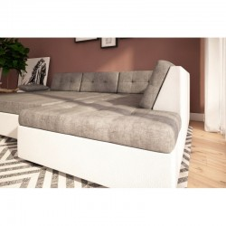 canapé angle convertible cosy beige blanc 4-5 personne gali