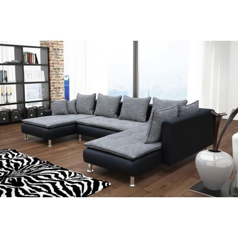 canapé panoramique 7 places gris noir assise capitonnée danté