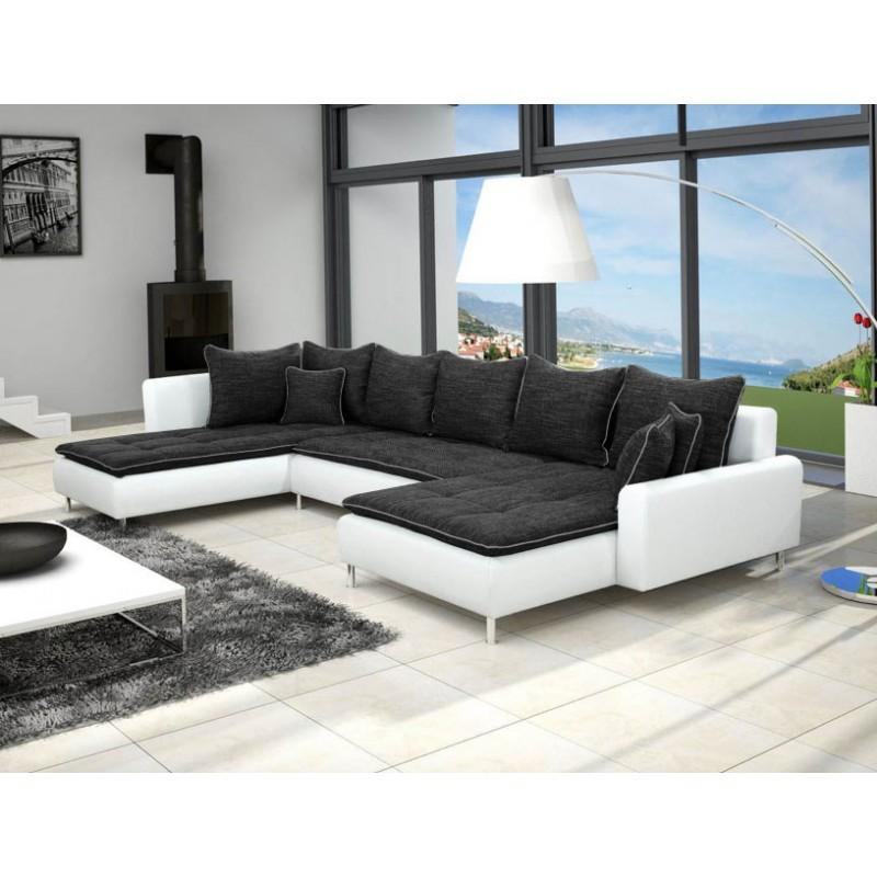 Canapé panoramique dante tissu et simili cuir