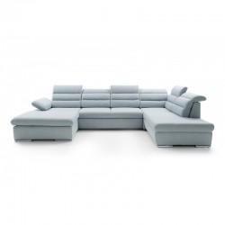 canapé panoramique convertible confortable et au design raffiné de bleu pastel 7 places GRECO II