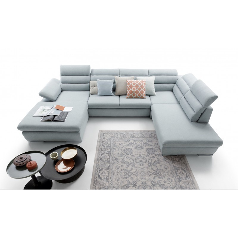canapé panoramique convertible confortable design bleu pastel 6 places GRECO II