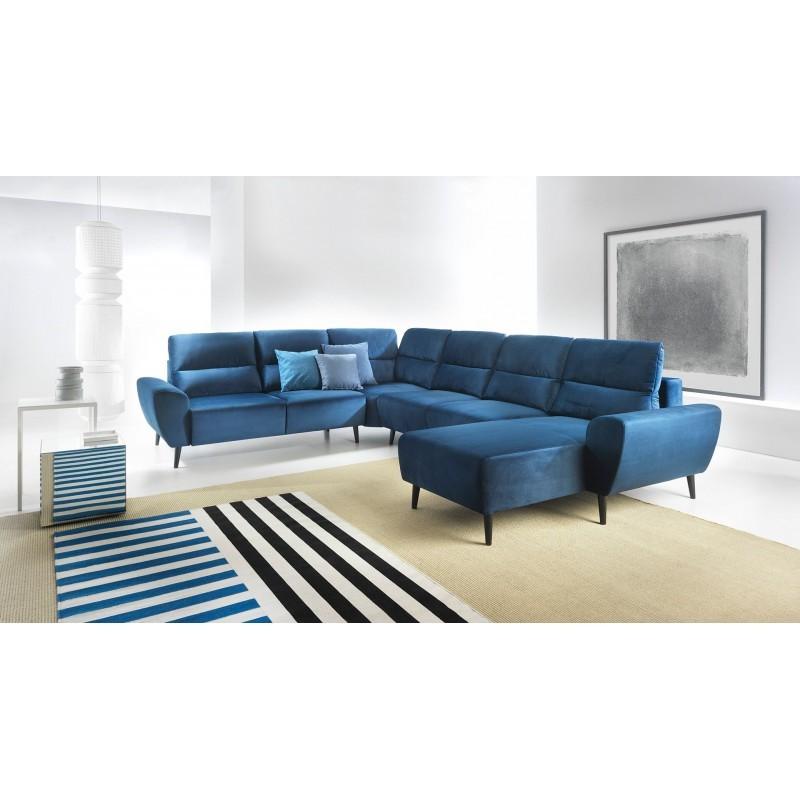 canapé panoramique convertible 7-8 place bleu pieds en bois BOSCO