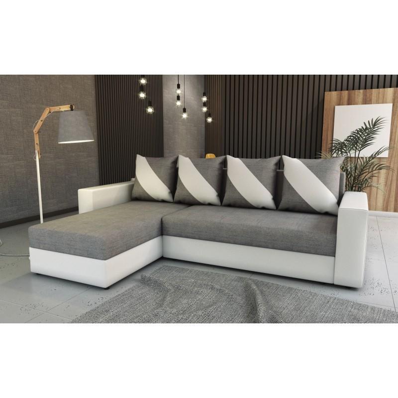 canapé d'angle réversible convertible en lit gris blanc 4 places  huli
