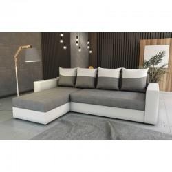 canapé d'angle avec méridienne qui se change côté gauche ou droit avec coussin motifs recto verso huli