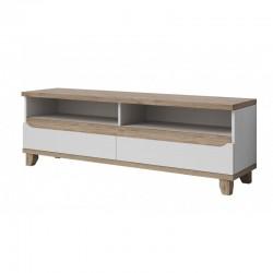 meuble de tv scandinave lier blanc et bois