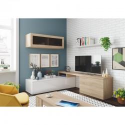 ensemble meubles TV d'angle bois et blanc nexia