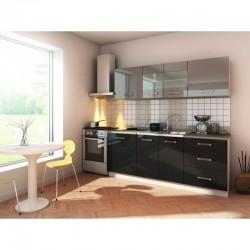 cuisine complete laquée 200 cm gris noir  glance