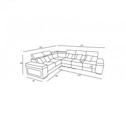canapé angle avec appui-têtes réglables 6 places gris caaria