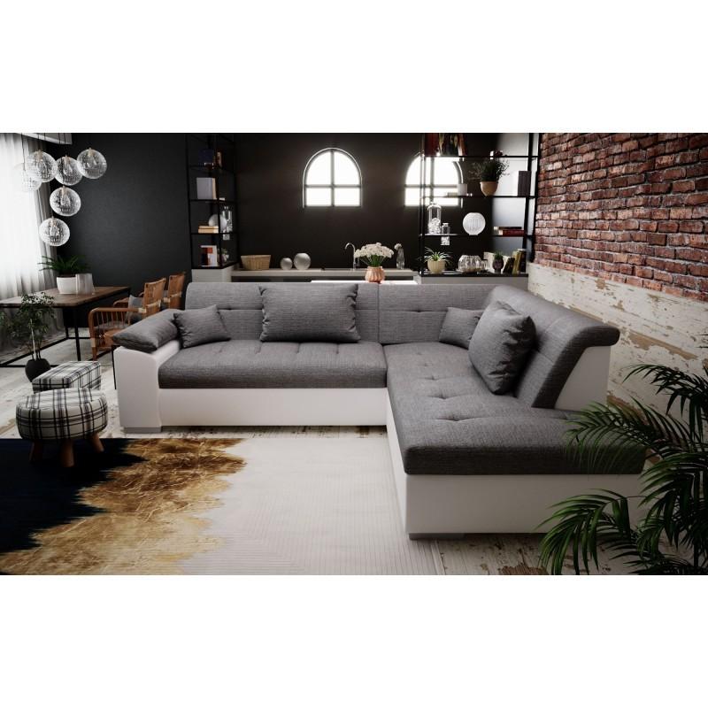 canapé d'angle convertible design 4-5 places pour petits espaces gris simili cuir blanc PEYTON