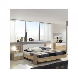 chambre adulte avec un lit +  deux tables de chevets avec 2 tiroirs et 1 commode avec 6 tiroirs
