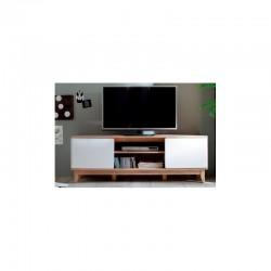 meuble télé moderne en panneaux en fibres de bois de densité moyenne, blanc mat, imitation chêne blanc monalisa
