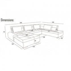 grand canapé panoramique convertible libertis 6-8 place gris en tissu simili cuir