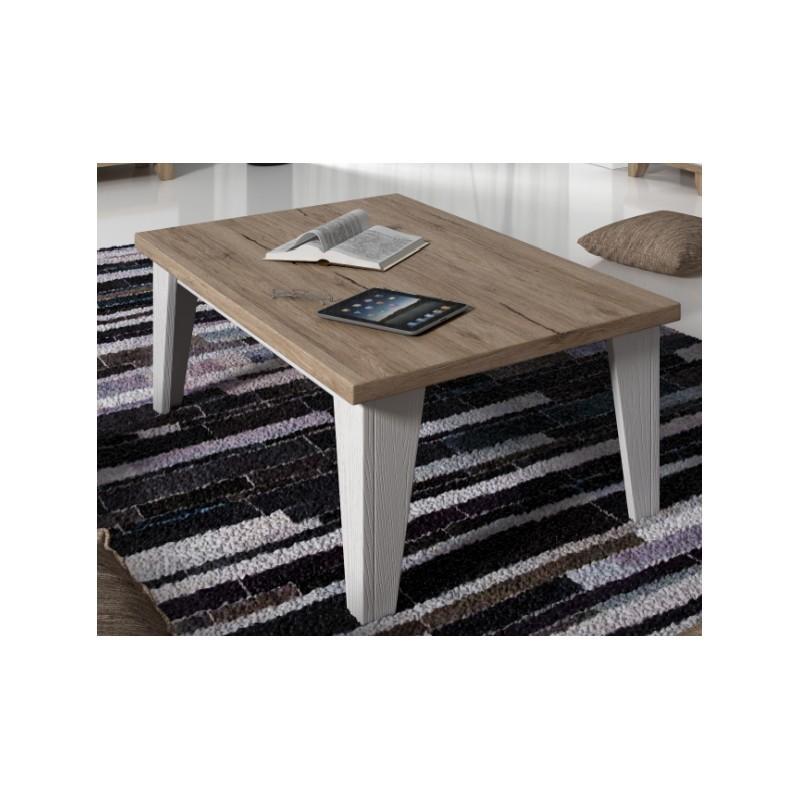Table basse carrée LIER couleur blanc et bois
