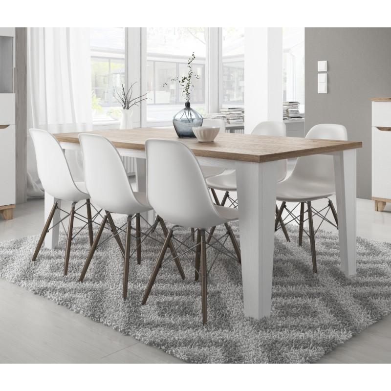 Table blanc et bois style scandinave LIER