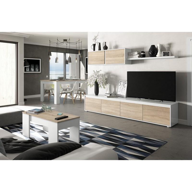 ensemble de meuble TV mural bois alibi