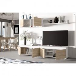 ensemble meuble TV avec espaces de rangement blanc nordique alidi