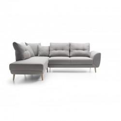 canapé lit gris panoramique 3 places pieds bois stormi