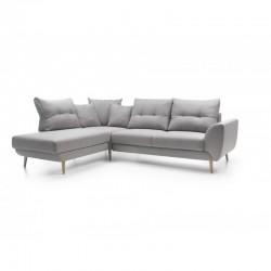 canapé 3 places en angle et panoramique gris stormi