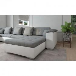 canapé U en gris blanc 6-7 places de longueur 342 cm athos