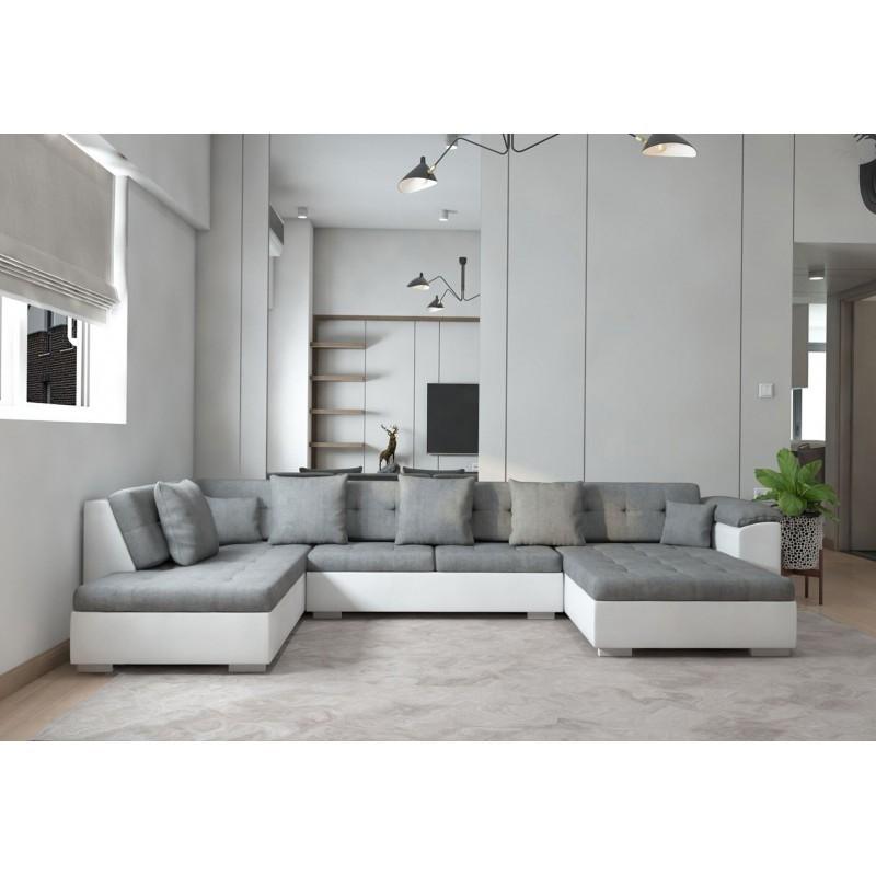 canapé panoramique en gris blanc 6-7 places longueur 342 cm athos