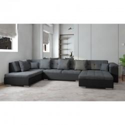 canapé panoramique en U gris noir 6-7 places athos