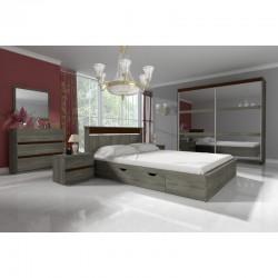 Chambre complète adulte LATTE avec lit et tiroirs