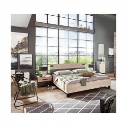 chambre à coucher adulte moderne lit et 2 tables de chevets avec 2 tiroirs miami