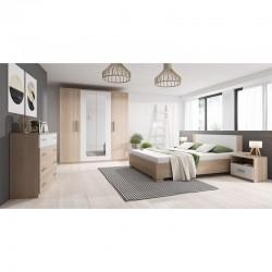chambre complète bois pour adultes lit (160 x 200 cm) avec sommier à lattes + une commode 4 tiroirs + 2 tables de chevet marco