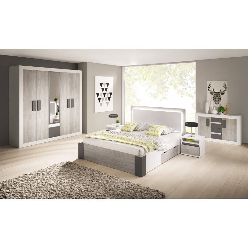 HELIOS  Chambre complète 10 personnes gris et blanc