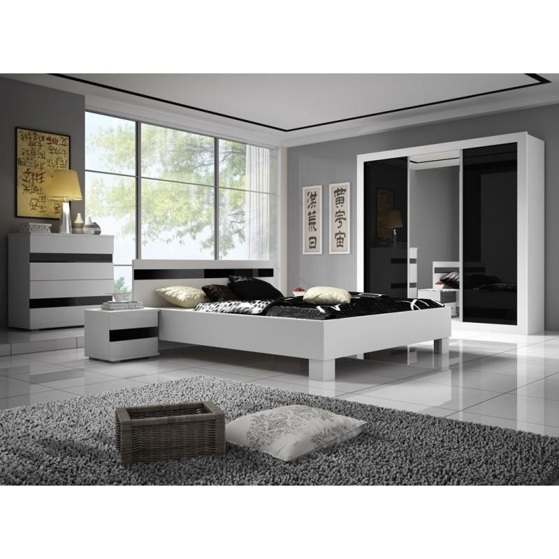 Chambre complète design blanc laqué LUCCA