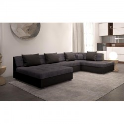 canapé petite taille en U panoramique 5-6 places et 4 coussins noirs OTIS