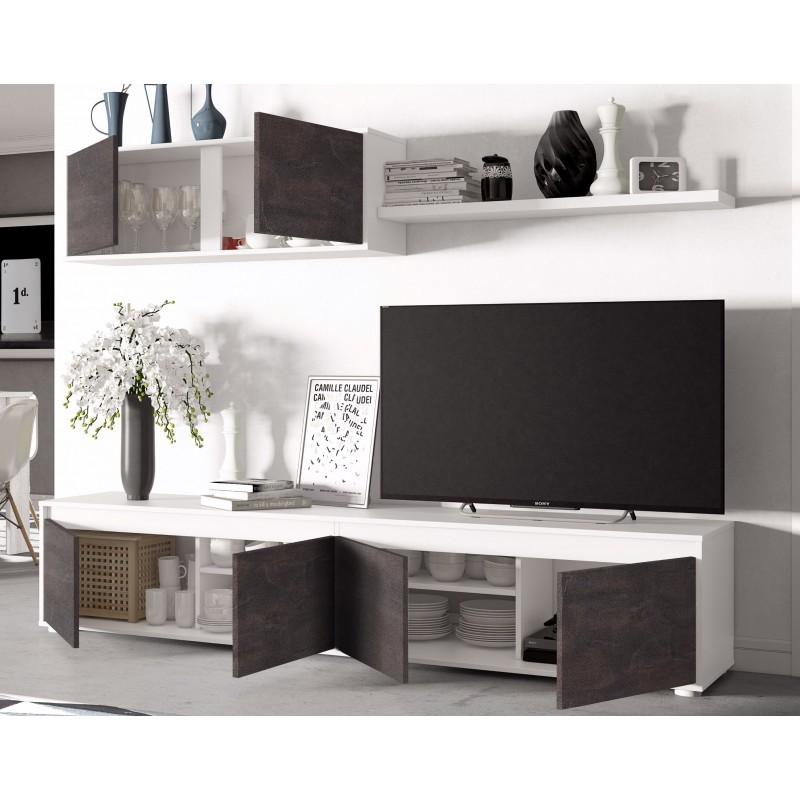 ensemble meuble télé avec module en bas et en haut et étagère murale alido