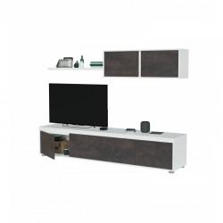 ensemble meuble TV industriel avec module  4 portes et une étagère suspendue alido
