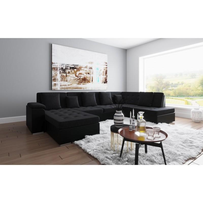 Canapé d'angle panoramique ALIA tissu noir