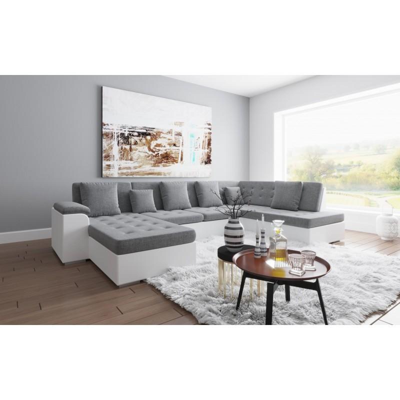Canapé d'angle panoramique ALIA  angle gauche gris et blanc