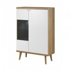 vitrine 90 cm bois et blanc claire et lumineuse primo