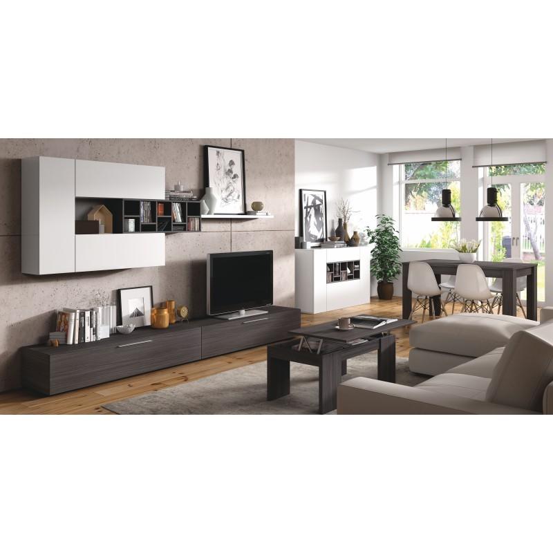 meuble TV design mural de 2 meubles haut et bas avec espaces rangement delo