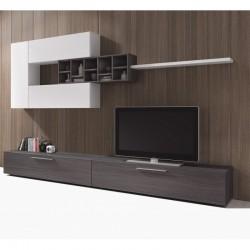 meuble TV design mural de 2 meubles haut et bas avec étagères de rangement delo