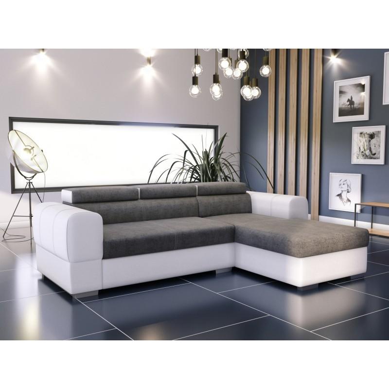 canapé angle convertible gris blanc 4 places avec méridienne deaya