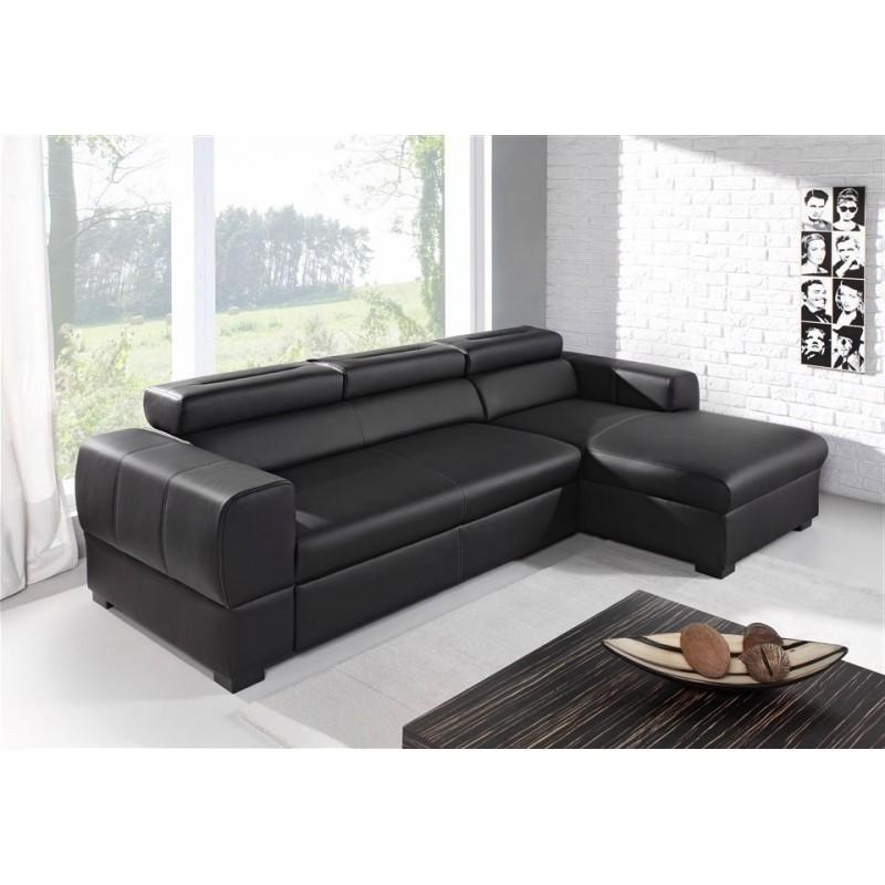 canapé 4 place noir simili cuir avec méridienne deaya
