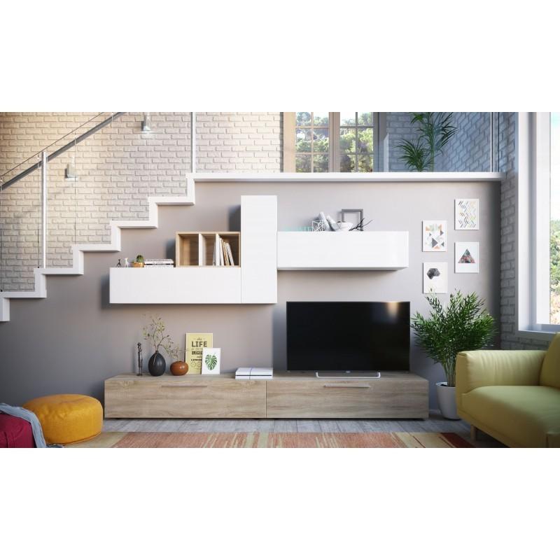 ensemble de meubles TV bois/blanc elio