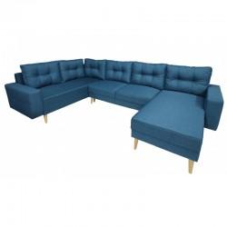 canapé panoramique convertible 6 places couleur bleu ou azur holia
